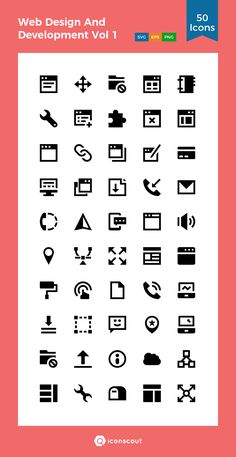 Web Design And Development Vol 1  Icon Pack - 50 Solid Icons
