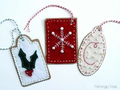 Bead & Embroidery Felt Gift Tags - Easy DIY Instructions and pattern for making your own Felt Gift Tags for Christmas