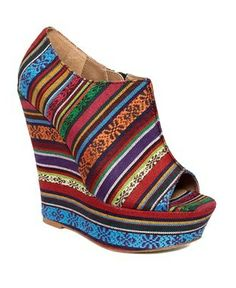 Steve Madden Shoes, Whisttle Peep Toe Booties in Bright Multi