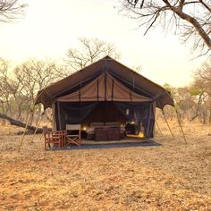 A glamping tent.