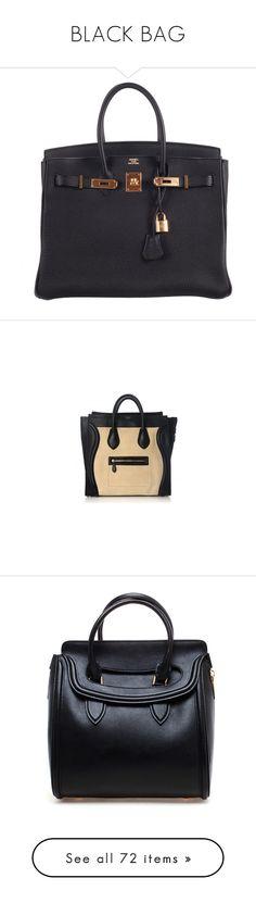 """BLACK BAG"" by therafale ❤ liked on Polyvore featuring bags, handbags, purses, hermes, bolsas, hermes handbags, lock bag, hermes purse, kiss-lock handbags and handbag purse"