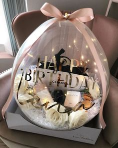 Bff Birthday Gift, Happy Birthday Wishes, Happy Birthday Balloons, Diy Gift Box, Diy Gifts, Flower Box Gift, Flower Boxes, Birthday Balloon Decorations, Diy Party Decorations