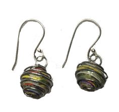 Fair Trade Jewelry Recycled Paper Bead Wire Earrings handmade by fair trade artists in Africa.