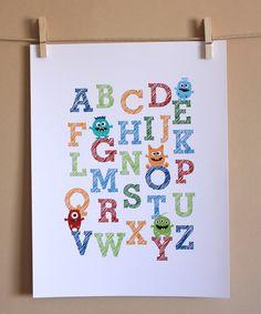 Nursery Art, Monster ABCs, Blue Red Green Boy, 8x10, Unframed