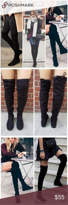 """Black OTK flat suede drawstring boots These over the knee boots feature a soft vegan suede, low block heel, round toe, and a drawstring collar that ties at the back for custom fit. Pull on construction with a partial side zipper closure for easy on/off.  Material: Vegan Suede (man-made) Sole: Rubber MEASUREMENT Heel Height: 1"""" (approx) Shaft Length: 23.5"""" (including heel) Top Opening Circumference: 15.5"""" (approx) Shoes Over the Knee Boots"""