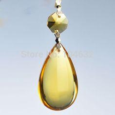 1 Golden Chandelier Glass Gorgeous Crystal Healing Pendulum Lamp