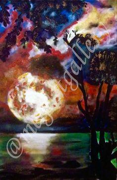 Artist: Kratimenou Konstantina Title: full Moon 44x64dim mixed media price:550euro Joomla Templates, Fingerprints, Full Moon, Mixed Media, Gallery, Artist, Painting, Harvest Moon, Blue Moon