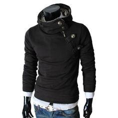 TheLees Mens casual luxury buckle hoodie slim sweatshirt