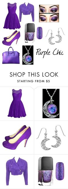 """""""Purple Chic"""" by loralie-inglehart on Polyvore featuring Brian Atwood, Carolina Glamour Collection, Versace, Formula X and Givenchy"""