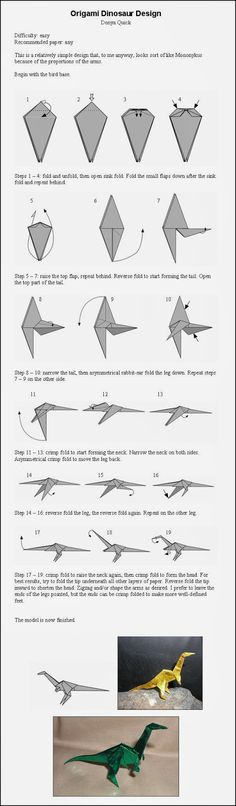 Origami Dinosaur Instructions step by step