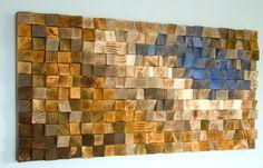 Holz wand kunst modern 3d abstrakt d nne holzstreifen handgemalt gef rbt und lackiert jedes - Ubergang wand decke acryl ...