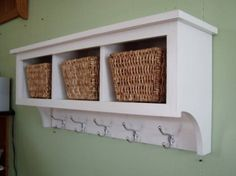 Country Shelf for Baskets Bath Or Entryway W Hooks 3 Cubbies