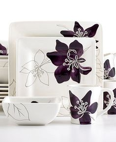 Laurie Gates Dinnerware, Anna Plum 16 Piece Set - Glassware - Dining & Entertaining - Macy's Bridal and Wedding Registry