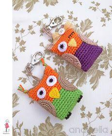 Crochet owl keychains by Anabelia Bigger yarn and needle to make scrubbiesir washcloths?
