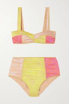Yellow Blossom Colorè floral-jacquard bikini | Oséree | NET-A-PORTER Swimwear Fashion, Bikini Fashion, Fast Fashion, Fashion News, Crochet Bikini Bottoms, Cool Coats, Strapless Swimsuit, High Rise Bikini, Yellow Bikini