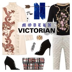 """""""Modern Victorian"""" by watereverysunday ❤ liked on Polyvore featuring Gucci, J.Reneé, Balenciaga, Alberta Ferretti, Versace, Avon, Creative Co-op and modern"""