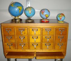 VINTAGE Library Card Catalog INDUSTRIAL Recipes Chef Mid Century 15 Drawer Jewelry Design. $750.00, via Etsy.