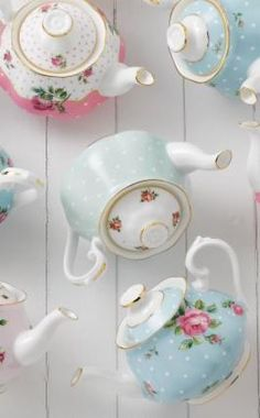 Collect all the vintage teapots from the Royal Albert Polka Rose, Polka Blue and Cheeky Pink collections for a big afternoon tea party.