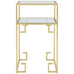 Worlds Away Two Tiered Square Table In Gold Leaf with Glass Shelves CLARE G