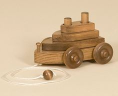 Amish Made Wooden Pull Toy Tug Boat - $29