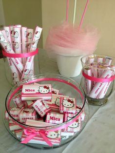 Para el cumple de Mica realizamos golosinas personalizadas de Hello Kitty como souvenir. #LasMariasEventos