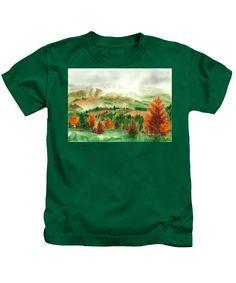 Transylvanian Autumn Kids T-Shirt featuring the painting Transylvanian Autumn by Olivia C