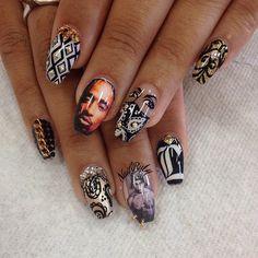 Tupac nail art☻♥ Just Cause its PAC