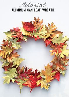 Aluminum Can Leaf Wreath Tutorial what a beautiful decoration for the fall season Diy Fall Wreath, Autumn Wreaths, Wreath Crafts, Diy Crafts, Wreath Ideas, Fall Diy, Aluminum Can Crafts, Aluminum Cans, Soda Can Crafts