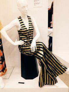 Biba black and white striped jumpsuit at Women, Fashion, Power exhibition