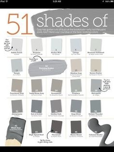 51 shades of gray paint~color inspiration for our bedroom~gray would look great with our dark furniture. I just got a gallon of the Revere Pewter. Room Colors, Wall Colors, House Colors, Interior Paint Colors, Paint Colors For Home, Paint Colours, Grey Colors, Light Grey Paint Colors, Paint Decor