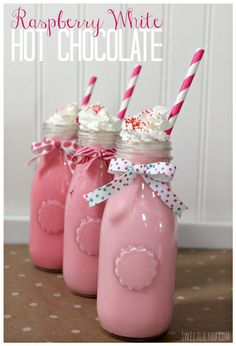 Pretty Pink Treat: Raspberry White Hot Chocolate | Kid's Tea Party Drink Idea by DIY Ready at  http://diyready.com/kids-tea-party-ideas/