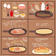 - Food Painting - Every otaku knows that when it comes to food, omurice is one of the surefire way. Every otaku knows that when it comes to food, omurice is one of the surefire ways to get to your waifu's/husbando's heart. Cute Food, Yummy Food, Tasty, Food Illustrations, Korean Food, Japanese Food, Japanese Omelet, Japanese Recipes, Diy Food