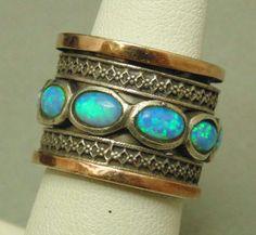 Sterling Silver 14k Yellow Gold w/ Opals Fidget Jewelry Ring