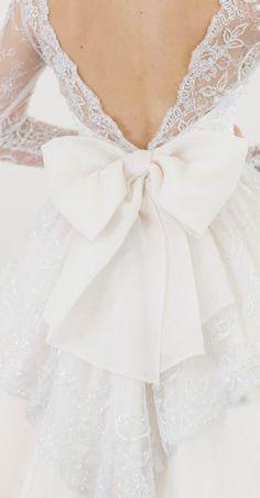 Duchess Bow Detailing ...pretty in pink by Elizabeth de Varga www.devarga.com.au Short Wedding Gowns, Elegant Wedding Dress, Dream Wedding Dresses, Bridal Gowns, Gowns With Sleeves, Dress With Bow, Dream Dress, Bridal Style, Marie
