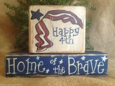 Primitive Patriotic Americana Happy 4th Home of the Brave Shelf Sitter Block Set #NaivePrimitive