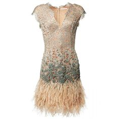 Matthew Williamson Beige Lacquer Lace Feather Dress ($5,500) ❤ liked on Polyvore featuring dresses, beige, short, cocktail party dress, short lace dress, short party dresses, short dresses and sequin cocktail dresses