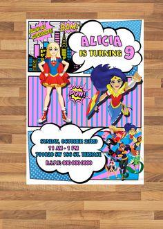 DC Super Hero Girls Birthday Party Invitation, Digital printable Birthday Invitation, DC Super Hero Girls Invitation, Super Heroes Party by APartyToRemember on Etsy
