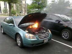 3. I like how the instinct here is to stop and snap a picture when you see flames. I mean, really?
