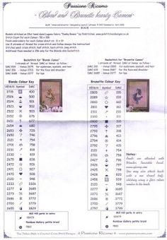 Cross-stitch Blonde & Brunette Lovely Cameos, part 1...  with the color chart...   Solo Patrones Punto Cruz
