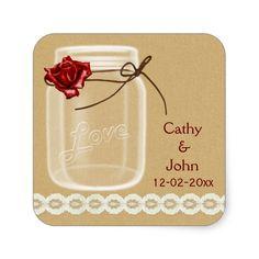 burlap and red rose mason jar envelope seals square sticker