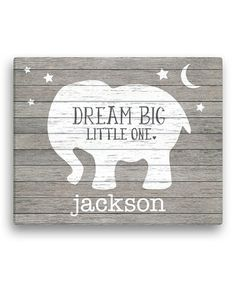 Gray Elephant 'Dream Big Little One' Personalized Canvas