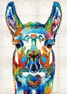 #llama #peru Colorful Llama Art - The Prince - By Sharon Cummings