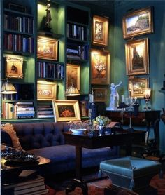 I am all about this soft lighting with the focus on the Art….k...very cozy.
