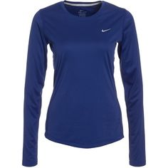 Nike Miler Long Sleeve ($39) ❤ liked on Polyvore featuring activewear, activewear tops, deep blue, sports fashion, tops, womens-fashion, long sleeve sport shirts, sports shirts, long sleeve shirts and nike sportswear