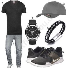 Sporty men& outfit in gray and black - Andre - - Sportliches Herren Outfit in Grau und Schwarz Men& outfit with black Tommy Hilfiger shirt, gray A. Salvarini jeans, Emporio Armani watch, Halukakah bracelet, Flexfit cap and Nike shoes. Nike Outfits, Casual Outfits, Gq Mens Style, Mens Style Guide, Sneakers Mode, Sneakers Fashion, Emporio Armani, Mode Man, Men Accessories