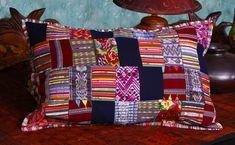 Handmade, Fair Trade, Guatemalan 20 x 30 Inch Puzzle Design Bed Size Pillow Cover. Cotton. Zipper Close.