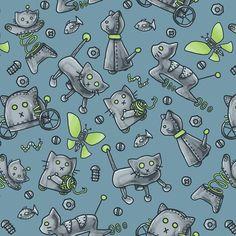 Robot Cats Fabric  Robot Cats By Karmakazi  Robot par Spoonflower
