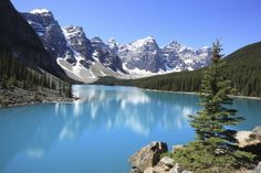 Kijken naar de weerspiegeling van de Rocky Mountain in Moraine Lake in Banff National Park, Canada