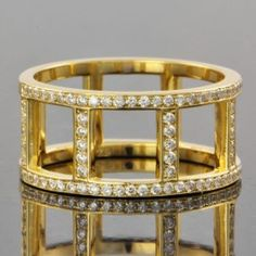 Yellow Gold and Diamond Ladder Ring $2,899.00