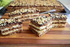 Pot să vă spun că prăjitura cu foi fragede cu nucă și cremă de gălbenușuri cu lămâie, este una dintre cele mai bune prăjituri preparate de mine, din categoria celor cu foi coapte pe dosul tăvii. Cu toate că mi-au dat ceva de furcă … Sweets Recipes, No Bake Desserts, Just Desserts, Cookie Recipes, Romanian Desserts, Romanian Food, Baking Classes, Homemade Sweets, Sweets Cake
